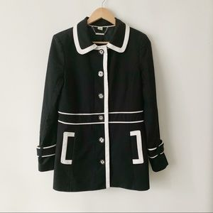 WHBM Black White Trim Jacket With Buttons